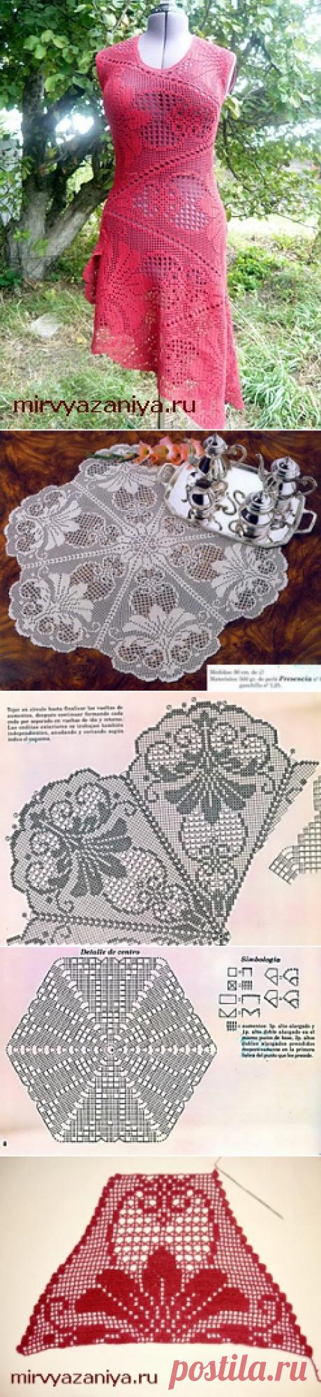 Филейное платье на основе салфетки филе.