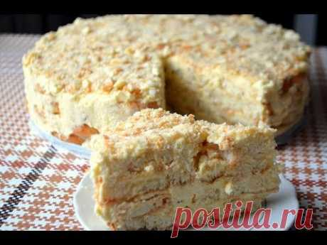 Торт Наполеон Без Выпечки из Печенья Ушки.Заварной Крем для Торта. - YouTube