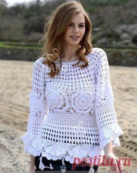 Ажурная летняя блуза крючком | Вязана.ru