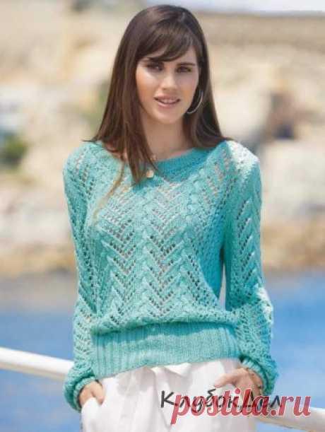 Вязание спицами - ажурный пуловер с присборенными рукавами: схема с описанием