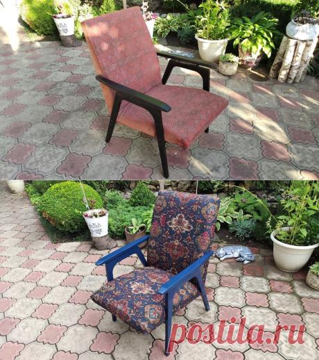 Показываю, как я преобразила старое советское кресло .
