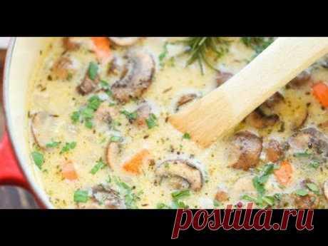 Простой овощной суп с шампиньонами