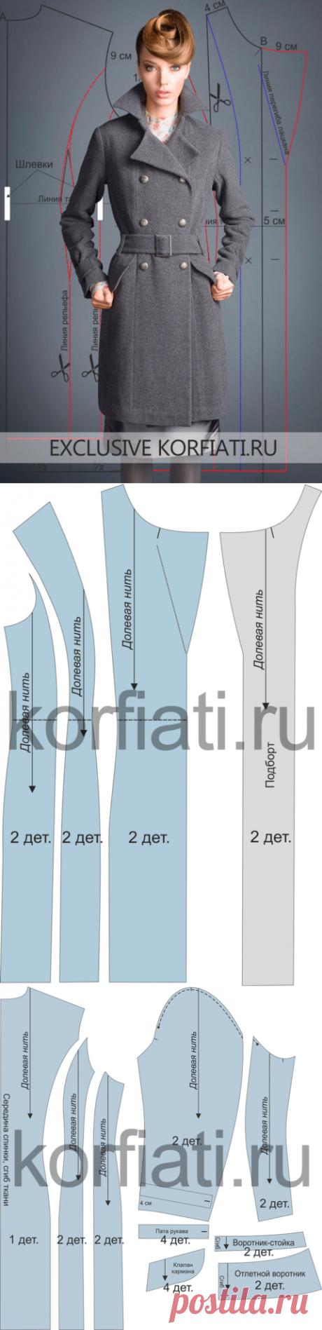 Выкройка классического пальто от Анастасии Корфиати