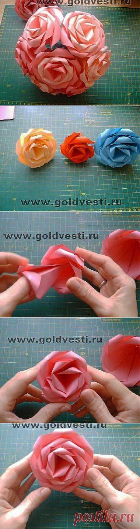 Как просто сделать из бумаги розу оригами