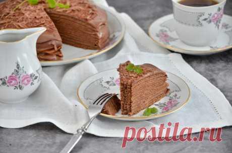 Блинный шоколадный торт рецепт с фото пошагово и видео - 1000.menu