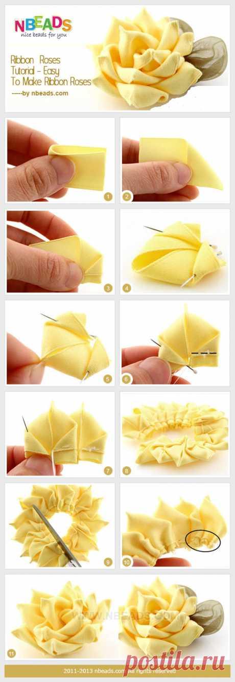 Ribbon Roses Tutorial - Easy to Make Ribbon Roses Ribbon Roses Tutorial - Easy to Make Ribbon Roses