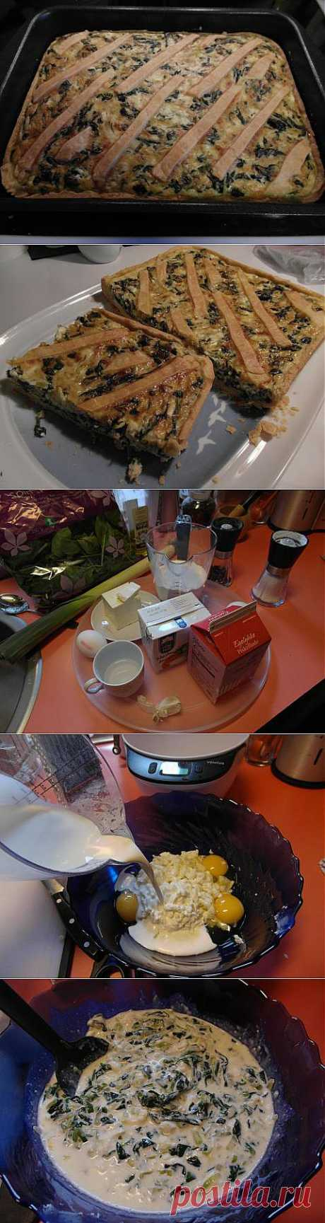 Киш со шпинатом, пореем и белым сыром   4vkusa.ru