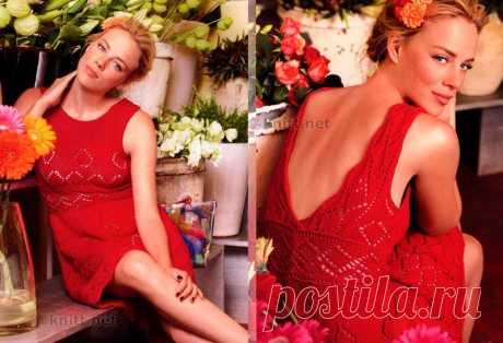 Красное ажурное платье спицами.