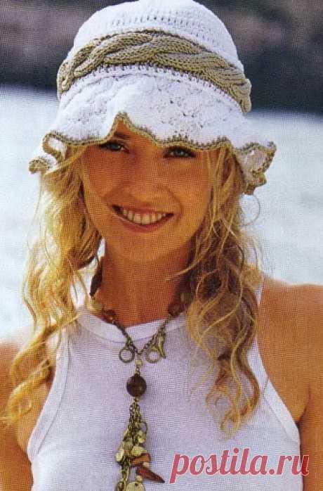 Вязание спицами - летняя шляпка