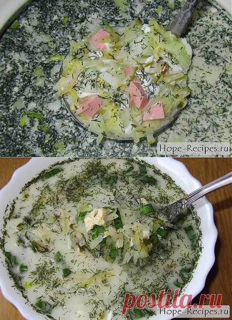 La okroshka invernal con la carne de gallina y los pepinillos salados © el blog Culinario #Рецепты Nadezhda