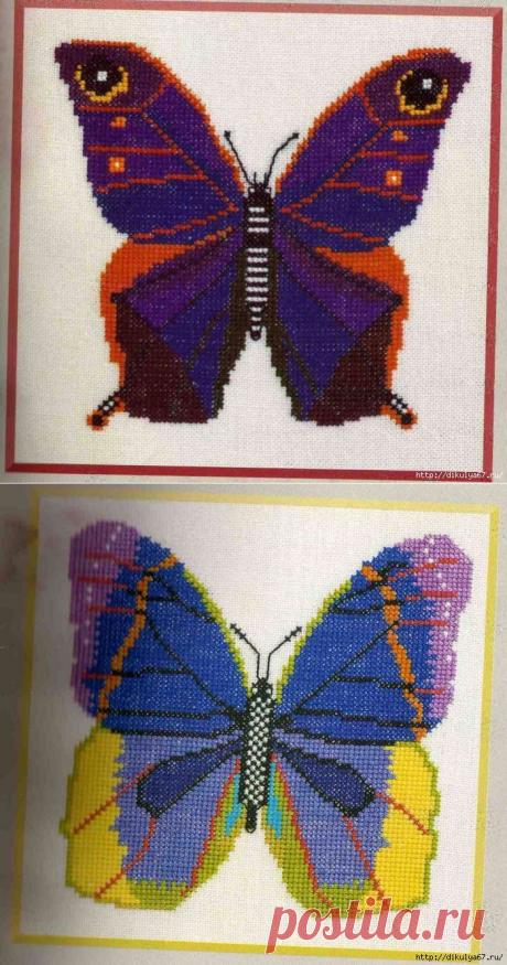 Вышивка крестиком. Бабочки. Схемы вышивки.