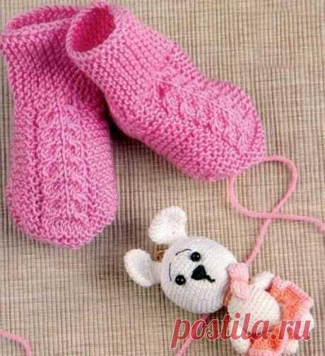 Носочки для малышки 6-9 месяцев (Вязание спицами) – Журнал Вдохновение Рукодельницы