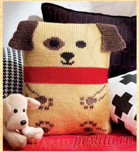 Детская подушка «Puppy» в образе собачки. Спицами. / DAMские PALьчики. ru