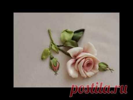 Как вышить бутонную розу за восемь стежков How to embroider a rose  如何绣玫瑰布敦 Бутонная роза лентами
