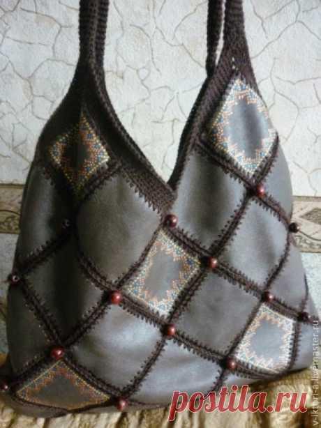 El chaleco original de cuero. Tejemos la cosa exclusiva. - la feria de los Maestros - la labor a mano, handmade