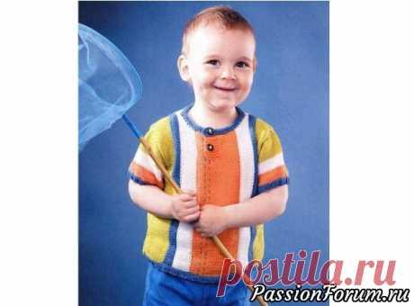 Футболка в полоску. Описание   Вязание спицами для детей Возраст:на 2-3 годаВам потребуется:пряжа «Джине» (45% РАС, 55% хлопок, 50 г/160 м)-по 50 г белого, оранжевого, синего и светло-зеленого цветов, спицы №3, 2 пуговицы.Резинка 2x2:вяжите попеременно 2 лиц. п. и 2 изн. п.Лицевая гладь:лиц. ряды - лиц. петли, изн. ряды - изн. петли.Платочная...