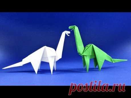 Как сделать динозавра из бумаги. Оригами Диплодок