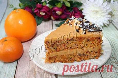 Морковный торт с апельсиново-карамельным кремом. Рецепт приготовления
