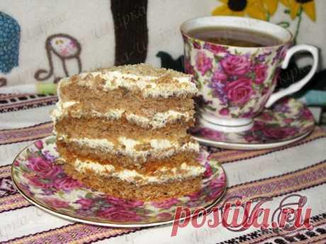 Корж медово-ореховый с сметанным кремом и черносливом | DreamFood