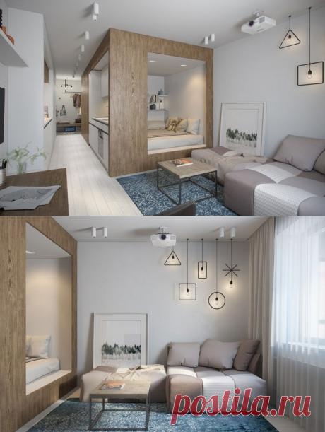 Оригинальная планировка прямоугольной студии 30 кв. м., г. Санкт-Петербург - Дизайн интерьеров   Идеи вашего дома   Lodgers