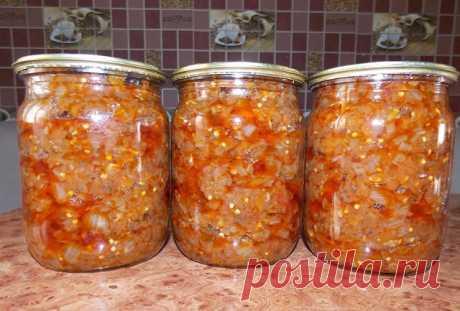 БАКЛАЖАННАЯ ИКРА. ПАЛЬЧИКИ ОБЛИЖЕШЬ!   Вам потребуется: Баклажан — 2.5 кг Помидор (свежий) — 2.5 кг Морковь — 1 кг  Перец болгарский (красный) — 1 кг Лук репчатый - 500гр Чеснок (по вкусу) Масло растительное (для жарки, примерно) — 100 г Специи (соль, черный перец) - по вкусу 1 пучок укропа  1 пучок петрушки  Приготовление: Лук мелко нарезать, морковь натереть на терке, помидоры прокрутить на мясорубке. Обжариваем по очереди лук, морковь. Помидоры выливаем в глубокую емкос...