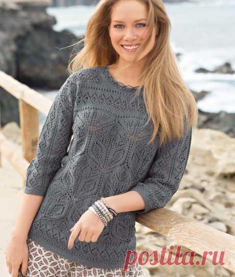 Восхитительный пуловер с ажурными цветами!