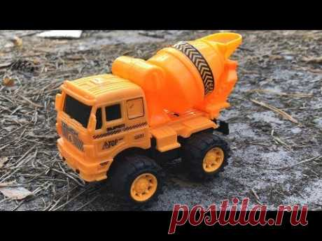 Kids toys - Concrete mixer toy truck running in the forest. Construction vehicles for children - YouTube