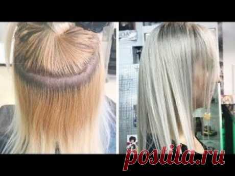 Окрашивание волос в блонд из желтого в ледяной холодный. How to get Icy Silver Blonde Hair Color.