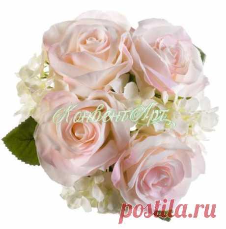 Букет из искусственных роз и гортензий H20 см - Купить в интернет магазине КонвентАрт