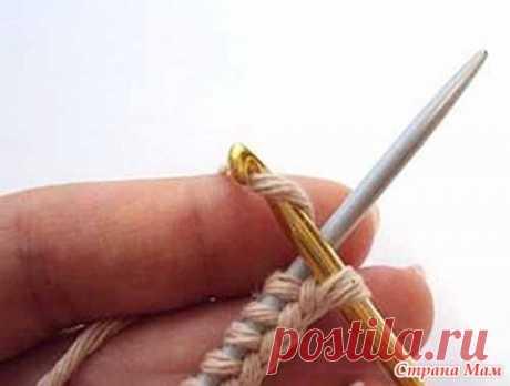 Набор петель на одну спицу с помощью крючка - Страна Мам