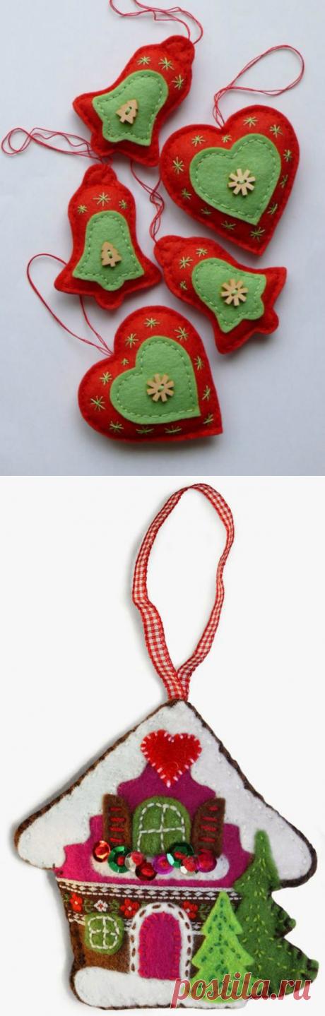 Идеи нарядов для новогодней красавицы, или Елочные игрушки из фетра