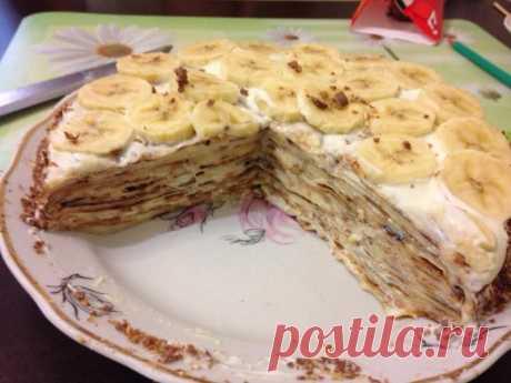 Блинный торт со сметанным кремом без яиц рецепт с фото - 1000.menu