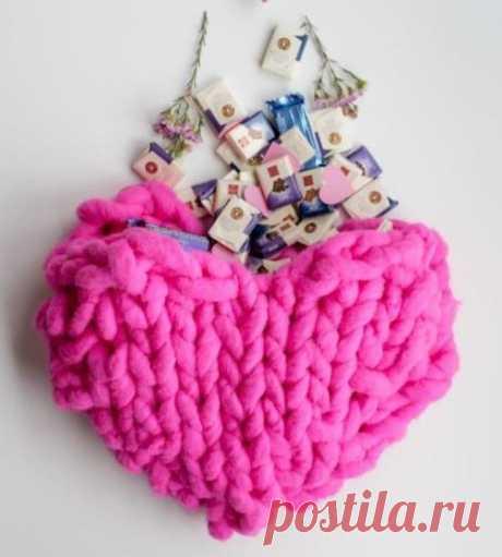 Вязаная сумка-сердце — Отлично! Школа моды, декора и актуального рукоделия