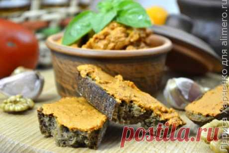 Вкусный паштет из болгарского перца и орехов