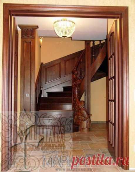 Лестницы, ограждения, перила из стекла, дерева, металла Маршаг – Лестница из массива ясеня