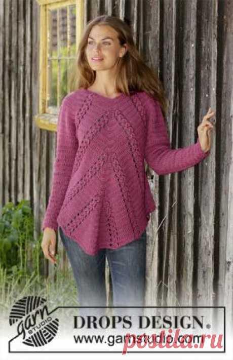 Свитер Флора Виола Чудная модель женского свитера с рукавом реглан, связанного из альпаки крючком 4.5 мм. Вязание модели начинается от верхнего края кокетки...