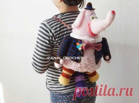 Шаблон и учебник, чтобы сделать рюкзак для детей слон | DIY - PatronesMil