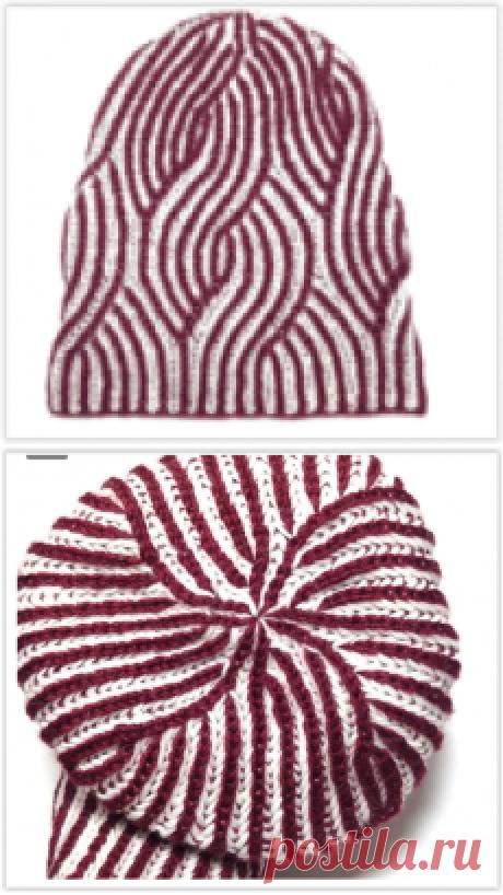 Не банальная, интересная двусторонняя шапочка в технике бриошь - вяжем своими руками!