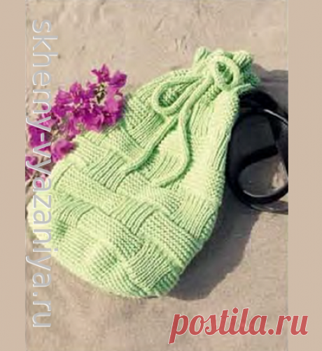 Зеленая сумка-мешок с рельефным узором
