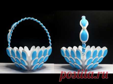 Beautiful Plastic Spoon Basket | Best out of waste | Ide kreatif keranjang dari sendok plastik