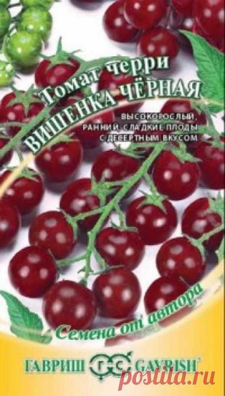 """Семена. Томат """"Вишенка черная"""" (вес: 0,1 г) Всхожесть: 96%. Раннеспелый (112 дней от всходов до плодоношения) высокорослый сорт для выращивания в пленочных теплицах. Растение индетерминантное (с неограниченным ростом), высотой более 2 м. Плоды округлые, бурого цвета, массой 18 г, с десертным вкусом. Для приготовления ярких свежих..."""