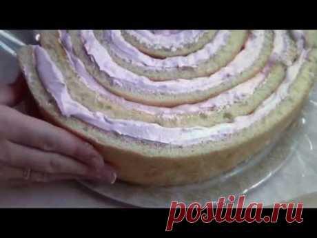 Торт - рулет. Бисквит со сливочно-творожным кремом.