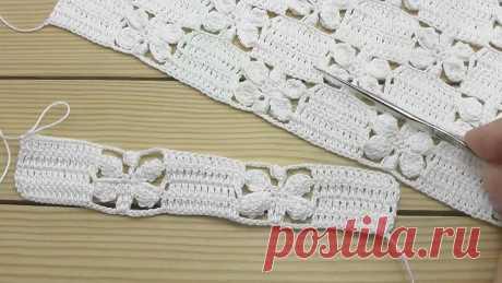 УЗОР _Бабочки_ ВЯЗАНИЕ КРЮЧКОМ мастер-класс СХЕМА узора Crochet butterfly lace pattern