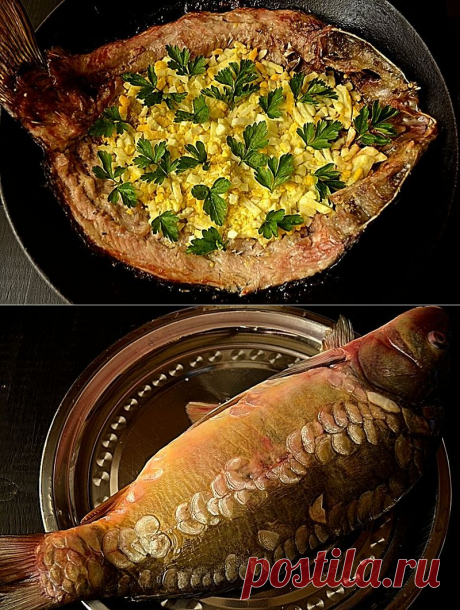 Carp baked with an eggs stuffing — Tasty recipes