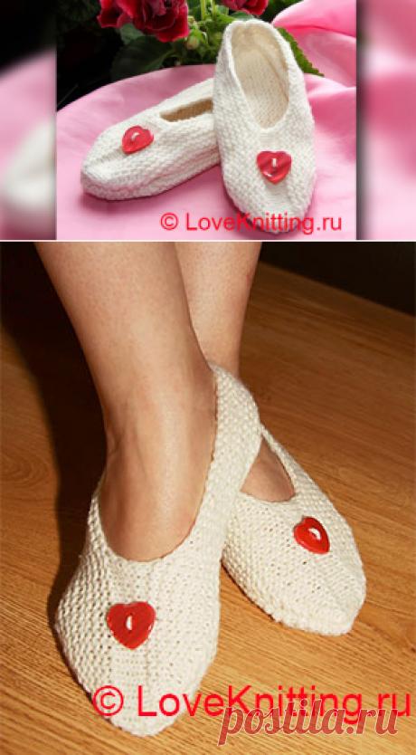 Тапочки на двух спицах   Loveknitting.ru