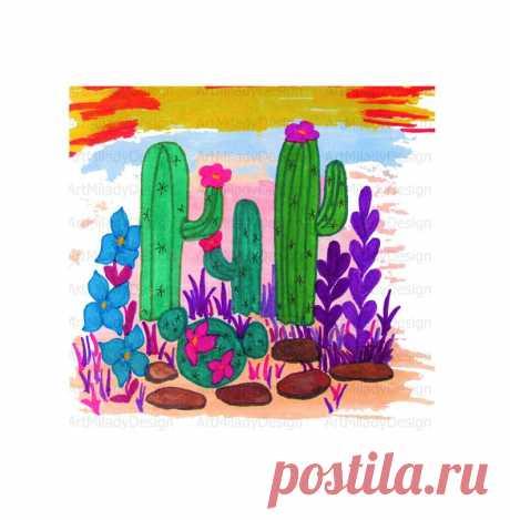 Cactus Flowers Sublimation Design Western PNG Desert Clipart   Etsy