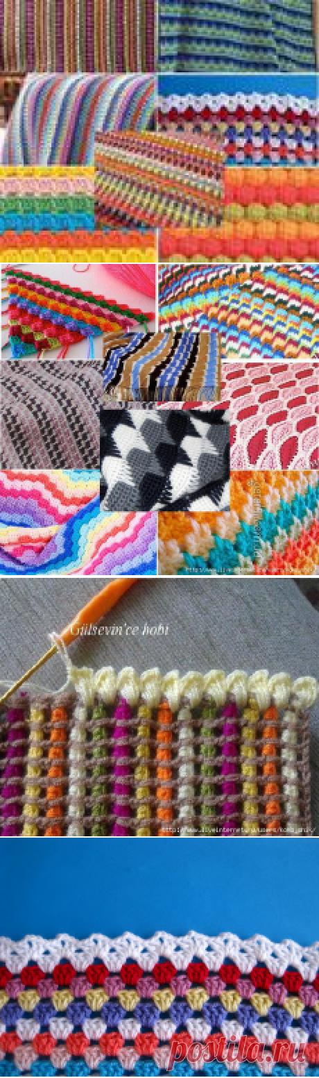 Вязание крючком - Многоцветные полосатые узоры крючком для пледов