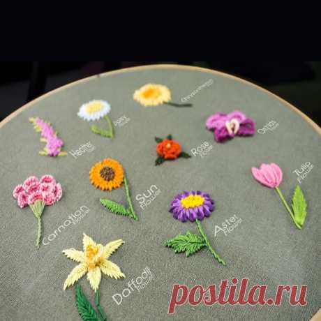 Как вышивать цветы декоративными швами