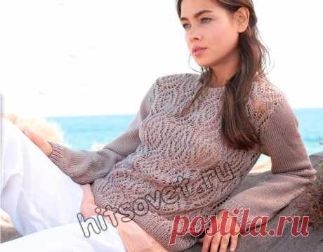 Красивый ажурный джемпер - Хитсовет Модная модель красивого ажурного джемпера для женщин со схемой и пошаговым бесплатным описанием вязания.