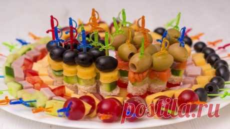 5 видов Канапе на Праздничный стол 🍢🍢🍢 Мини бутерброды на шпажках на Нов